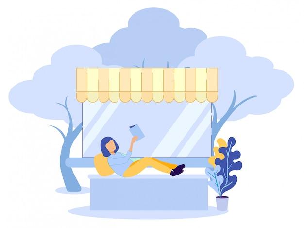 Il personaggio dei cartoni animati della donna ha libro di lettura di riposo