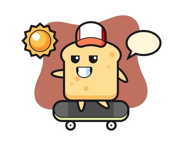 Il personaggio del pane cavalca uno skateboard