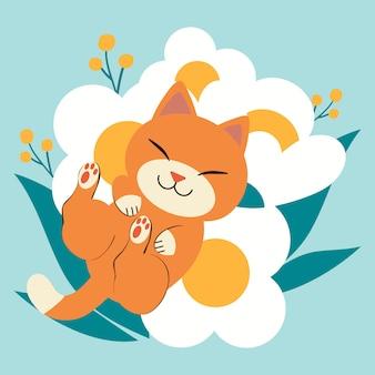 Il personaggio del simpatico gatto che dorme sul grandissimo fiore bianco. gatto sembra felice.