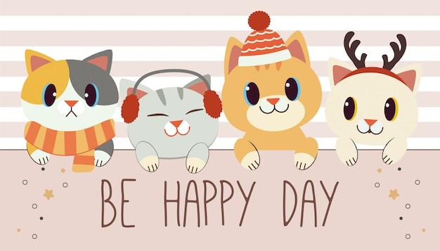 Il personaggio del simpatico gatto e degli amici lacuna un'etichetta e un testo di essere felice giorno sul bianco e rosa.