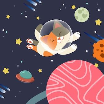 Il personaggio del simpatico gatto galleggia nello spazio. il gatto galleggia nello spazio con un gruppo di stelle