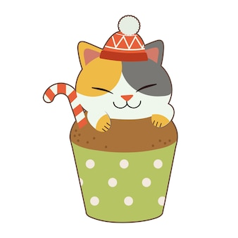 Il personaggio del simpatico gatto indossa un grande cupcake a tema natalizio. il cupcake al cioccolato ha una caramella.