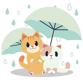 Il personaggio del simpatico gatto sotto l'ombrello con una goccia di pioggia. il simpatico gatto e amico sotto l'ombrello verde.