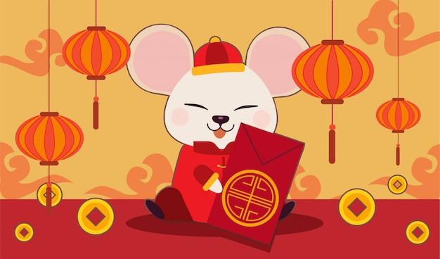 Il personaggio del simpatico topo con oro cinese e nuvola cinese. il simpatico topo indossa un abito cinese, anno del ratto.
