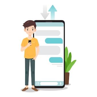 Il personaggio dell'uomo usa lo smartphone per chattare