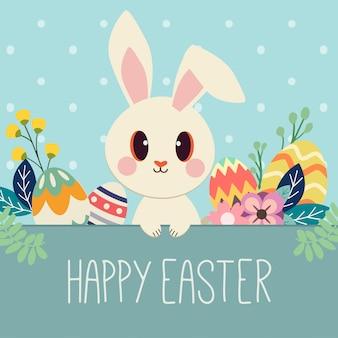 Il personaggio di coniglio carino con uovo e fiori per il giorno di pasqua. il simpatico coniglio con uovo di pasqua e buon tema pasquale.