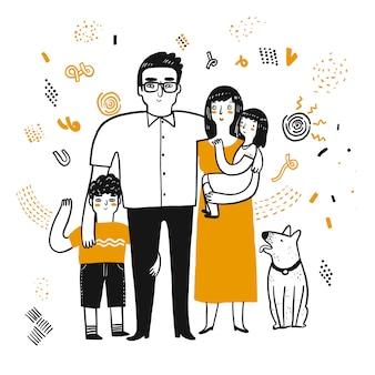 Il personaggio di disegno della famiglia.