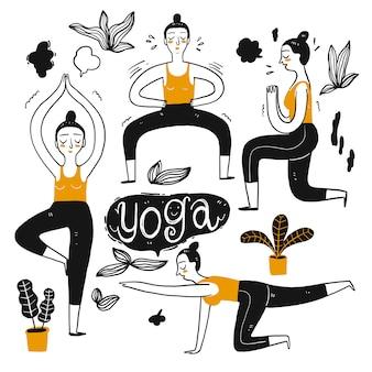 Il personaggio di disegno di persone che praticano yoga.