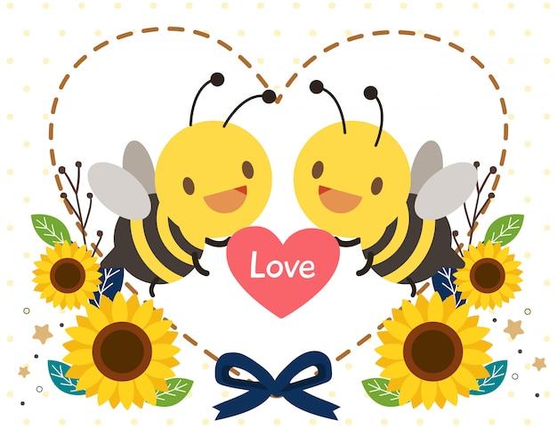 Il personaggio di un'ape carina che regge un cuore con girasole e cuore in stile piatto.