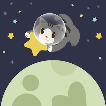 Il personaggio di un simpatico gatto avvolge una stella gialla nello spazio.