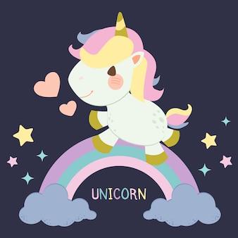 Il personaggio di un unicorno carino in piedi sull'arcobaleno pastello