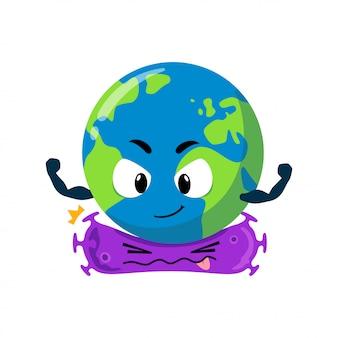 Il personaggio mascotte della terra uccide il coronavirus