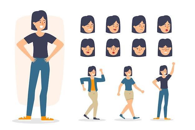 Il personaggio pone illustrazioni