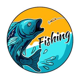 Il pesce che salta per l'illustrazione di vettore del gancio dell'esca per il logo del distintivo di evento del torneo di pesca