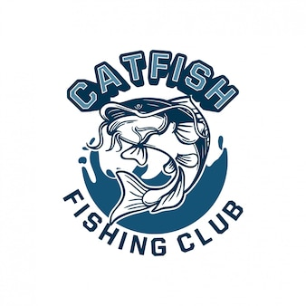 Il pesce gatto salta con acqua blu di sfondo per il badge con il logo del tuo club di pesca. può essere utilizzato anche su magliette