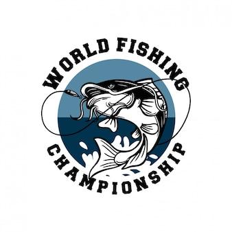 Il pesce gatto salta sul distintivo del logo del campionato mondiale di pesca del gancio del fermo dell'acqua