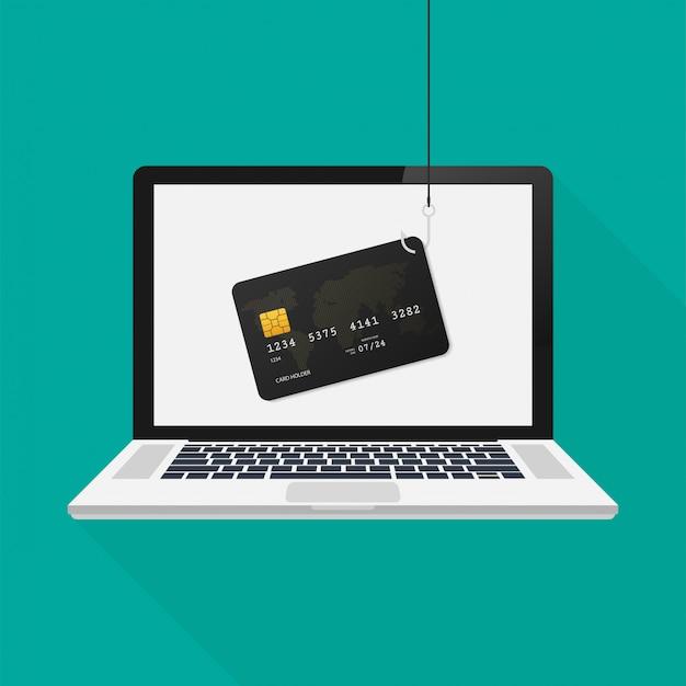 Il phishing di internet e l'attacco di pirateria informatica al computer portatile, vector il concetto piano. illustrazione vettoriale