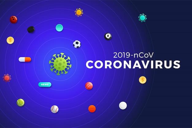 Il pianeta coronavirus attorno al quale volano in orbita palloni sportivi, soldi, medicine, notizie, tornei sportivi. banner di iilustration concetto globale epidemia di virus covid-19