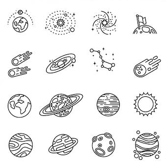 Il pianeta del sistema solare. viaggi interplanetari. il sistema solare è un insieme di pianeti. icone isolate