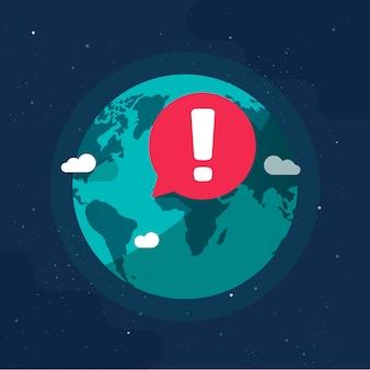 Il pianeta terra nelle avvertenze ambientali di avvertenza ambientale di epidemia di pericolo globale o l'avvertimento di conflitto di guerra canta sull'illustrazione piana del fumetto del globo del mondo