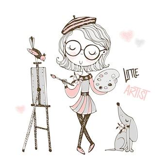 Il piccolo artista sveglio dipinge un'immagine. stile doodle.