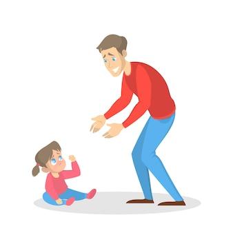 Il piccolo bambino piange e la donna cerca di calmarsi