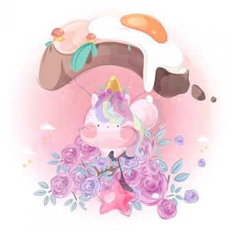 Il piccolo unicorno sveglio e l'aerostato hanno modellato il pane con l'uovo fritto in cielo luminoso.