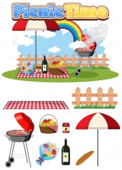 Il picnic ha messo con la griglia e l'alimento del bbq su fondo bianco