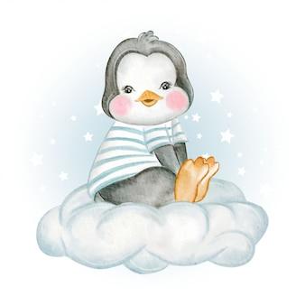 Il pinguino di bambino si siede sopra l'illustrazione dell'acquerello delle nuvole