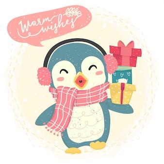 Il pinguino felice blu sveglio indossa la sciarpa e porta il contenitore di regalo, il costume dell'inverno, i desideri caldi felici