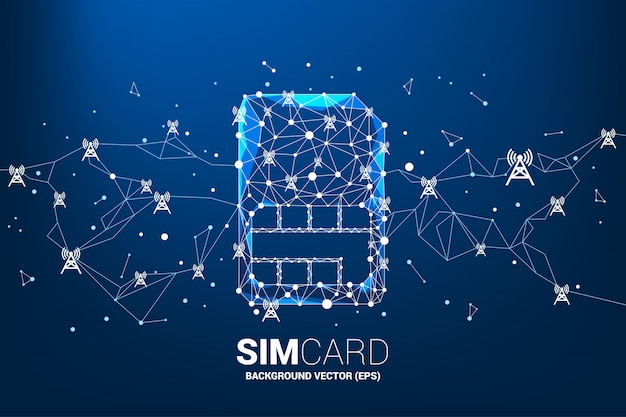 Il poligono dot collega l'icona della sim card a forma di linea con l'antenna