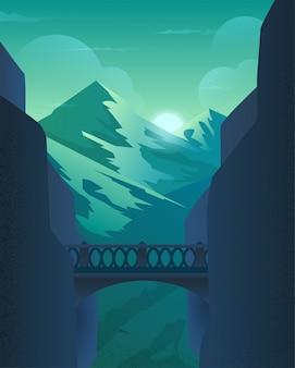 Il ponte nella roccia sopra l'abisso nelle montagne.
