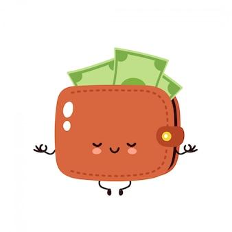 Il portafoglio felice sveglio della banconota dei soldi medita nella posa di yoga. personaggio dei cartoni animati piatto, concetto di portafoglio