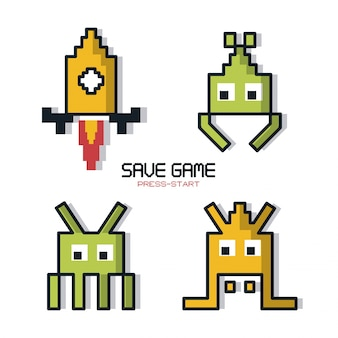 Il poster colorato di save game press inizia con la grafica del gioco spaziale