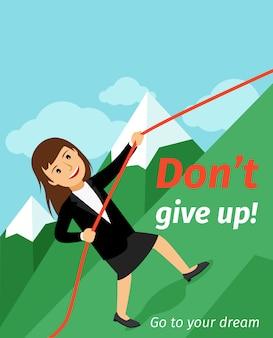 Il poster di motivazione non si arrende