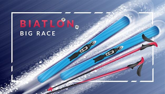 Il poster orizzontale colorato realistico di biathlon con la descrizione e gli sci si trovano nella neve