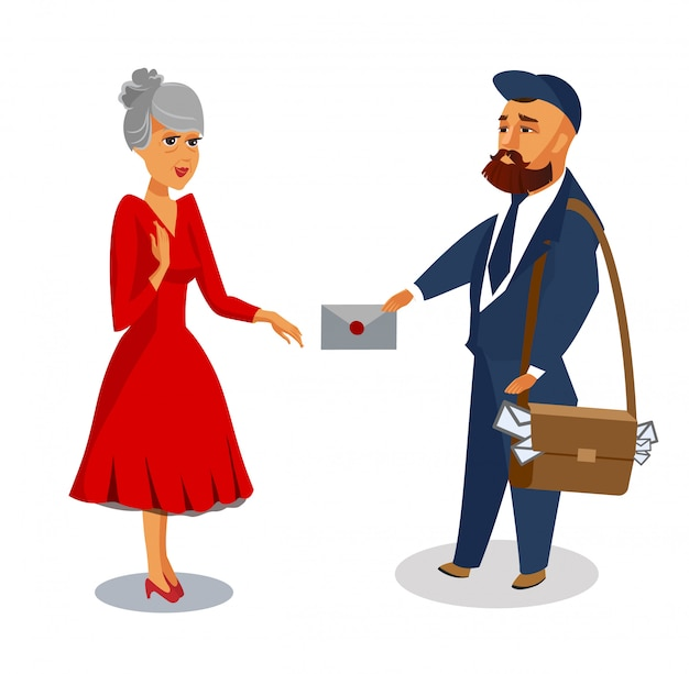 Il postino consegna l'illustrazione isolata vettore della posta