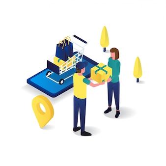 Il postino sta inviando l'illustrazione isometrica piana 3d di servizio di consegna delle merci