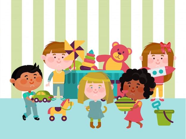 Il posto della stanza di giocattolo, carattere dei bambini gioca l'illustrazione differente del giocattolo. area giochi per bambini a riposo, posto per bambini multinazionale.