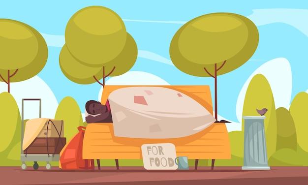 Il povero senzatetto dorme all'aperto sul banco con la tazza dei mendicanti che chiede soldi per l'insegna piana dell'alimento