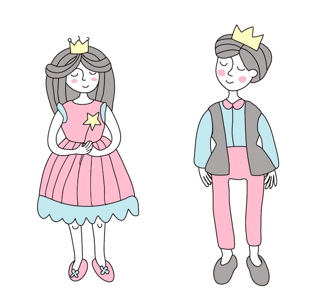 Il principe e la principessa. illustrazione in stile semplice, su bianco.