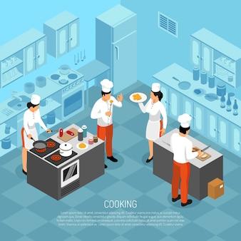 Il professionista cucina il personale di cucina del cuoco unico che macella la carne che produce la salsiccia che prepara l'alimento per l'illustrazione isometrica di vettore della composizione in servizio
