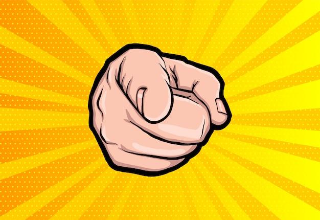 Il pugno di un uomo punta un dito come lo zio sam.