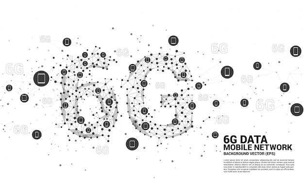 Il punto del poligono di vettore collega la rete mobile a forma di linea 6g con l'icona del dispositivo mobile