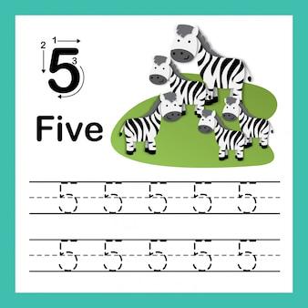 Il punto di collegamento ed i numeri stampabili esercitano l'illustrazione, vettore