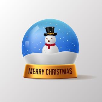 Il pupazzo di neve di natale snow globe 3d realistica elegante per decorazioni festive con colori dorati e dettagli lucenti