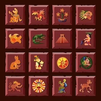 Il quadrato di maya ha messo con l'illustrazione di vettore isolata piano di simboli della cultura e di civilizzazione