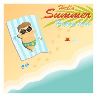 Il ragazzino dice ciao al tempo felice dell'estate