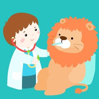 Il ragazzino sveglio guarisce la bambola del leone
