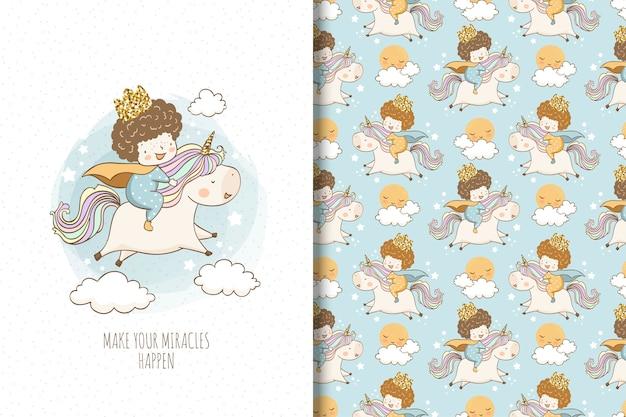 Il ragazzino sveglio guida un unicorno. design di superficie e scheda per bambini.